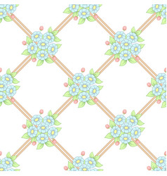 seamless pastel flowers lattice wallpaper vector image