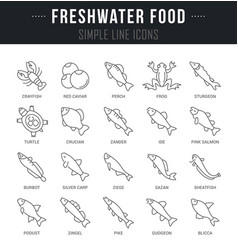 Set line icons freshwater food vector