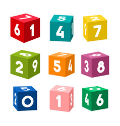 set of colorful toy bricks with numbers vector image