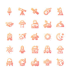 Set space icons with gradient style vector