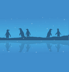 silhouette of penguin on riverbank scenery vector image