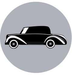 silhouette of small retro car vector image