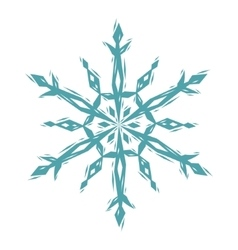 Snowflake linocut style logo in blue and white vector