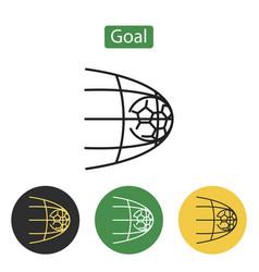 soccer football in goal net vector image vector image