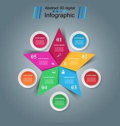 Star infographics origami style vector
