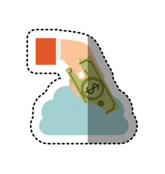 Sticker cloud in cumulus shape with hand holding a vector