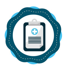 Sticker hospital prescription pad icon vector