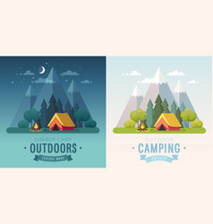 summer camping morning and night graphic posters vector image