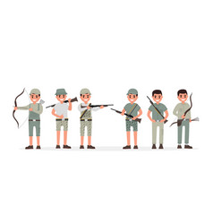 Team of many various hunter huntsman gamekeeper vector