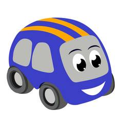 Toy car with eyes icon on a white vector