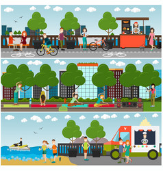 Training outdoors concept flat poster set vector