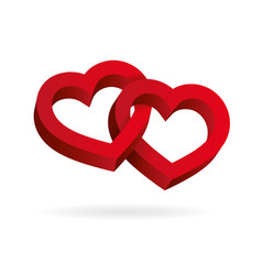 Two hearts intertwined on white background vector