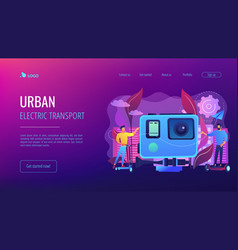 Urban electric transport concept landing page vector