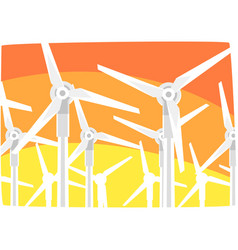 Wind power station against the evening sky vector