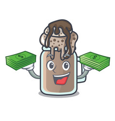 with money bag milkshake mascot cartoon style vector image