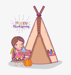 Woman indigenous with cake and camping tent vector