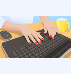 Woman typing on keyboard vector
