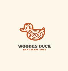 wooden duck logo vector image