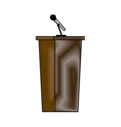 Wooden podium tribune stand rostrum with vector