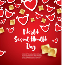 world sexual health day hearts and condoms on red vector image