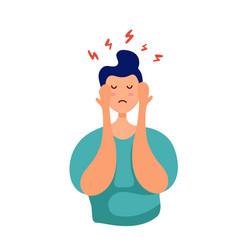 young man upset feelings stress at work vector image