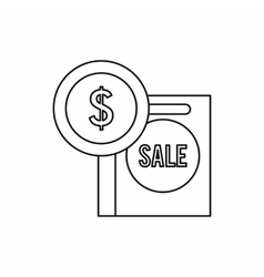 Dollar sign and shopping bag for sale icon vector image vector image