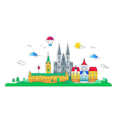 european countries - line travel vector image vector image