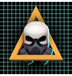 Human skull with visual Anaglyph stereoscopic vector image vector image