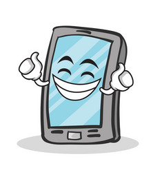 proud face smartphone cartoon character vector image