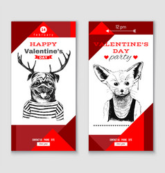 valentines day vertical banners vector image