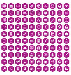 100 seminar icons hexagon violet vector