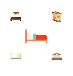 Flat bedroom set of mattress bedroom bearings vector