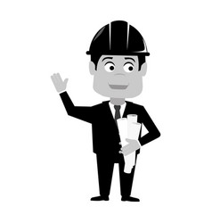 monochrome silhouette with engineer with helmet vector image vector image