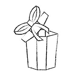 Open gift box ribbon festive sketch vector