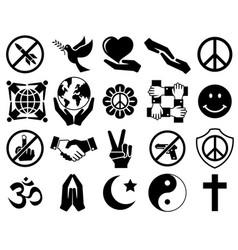 peace symbol icon set vector image vector image
