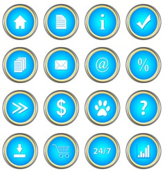 Set of blue buttons vector image