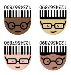 the cartoon characters with glasses vector image