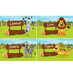 Wild animals by the wooden signs vector image