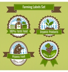 Farming harvesting and agriculture badges or vector image vector image