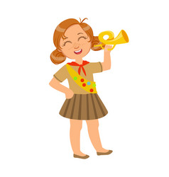 little scout girl dressed in uniform and holding vector image