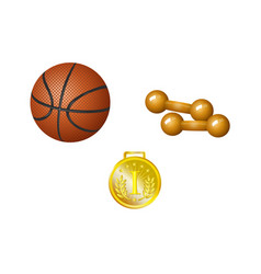 set of basketball ball dumbbells and golden medal vector image vector image