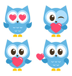 set of cute blue owls with hearts isolated on vector image