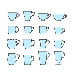 Set of mugs of different shapes vector image vector image
