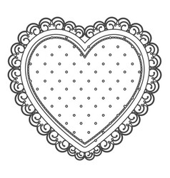 silhouette sketch heart with decorative frame with vector image vector image