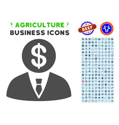 banker icon with agriculture set vector image vector image