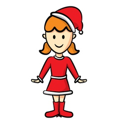 cute girl wearing santa costume vector image