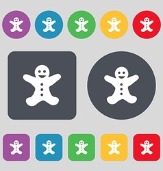 Gingerbread man icon sign A set of 12 colored vector image