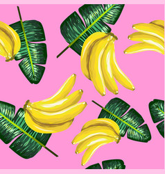 Pattern of bananas and green leaves on a pink vector