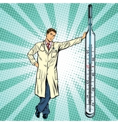 Retro medical doctor with thermometer vector image