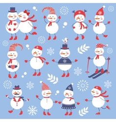 A cute snowmen seamless collection vector image